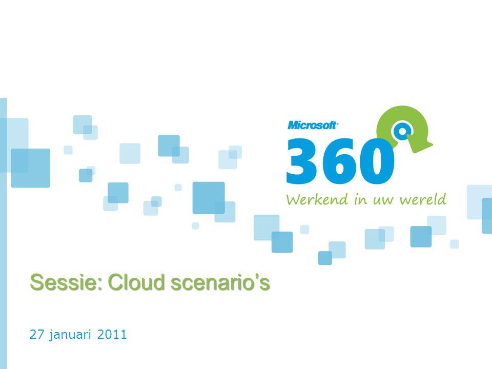 27 januari 2011 Sessie: Cloud scenario's