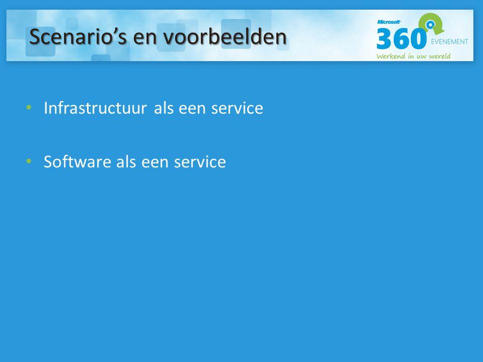 Infrastructuur als een service Software als een service Scenario's en voorbeelden