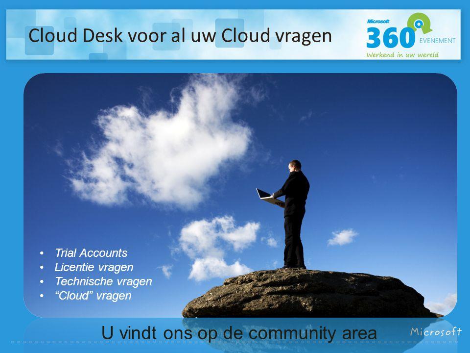Cloud Desk voor al uw Cloud vragen U vindt ons op de community area Trial Accounts Licentie vragen Technische vragen Cloud vragen