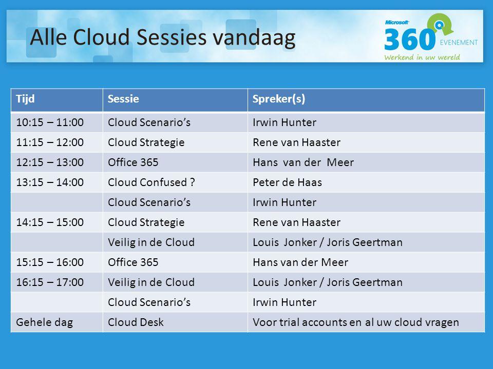 Alle Cloud Sessies vandaag TijdSessieSpreker(s) 10:15 – 11:00Cloud Scenario'sIrwin Hunter 11:15 – 12:00Cloud StrategieRene van Haaster 12:15 – 13:00Office 365Hans van der Meer 13:15 – 14:00Cloud Confused Peter de Haas Cloud Scenario'sIrwin Hunter 14:15 – 15:00Cloud StrategieRene van Haaster Veilig in de CloudLouis Jonker / Joris Geertman 15:15 – 16:00Office 365Hans van der Meer 16:15 – 17:00Veilig in de CloudLouis Jonker / Joris Geertman Cloud Scenario'sIrwin Hunter Gehele dagCloud DeskVoor trial accounts en al uw cloud vragen