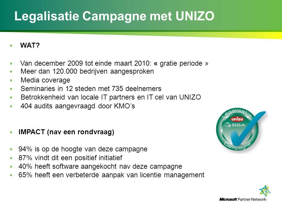 Legalisatie Campagne met UNIZO  WAT?  Van december 2009 tot einde maart 2010: « gratie periode »  Meer dan 120.000 bedrijven aangesproken  Media c
