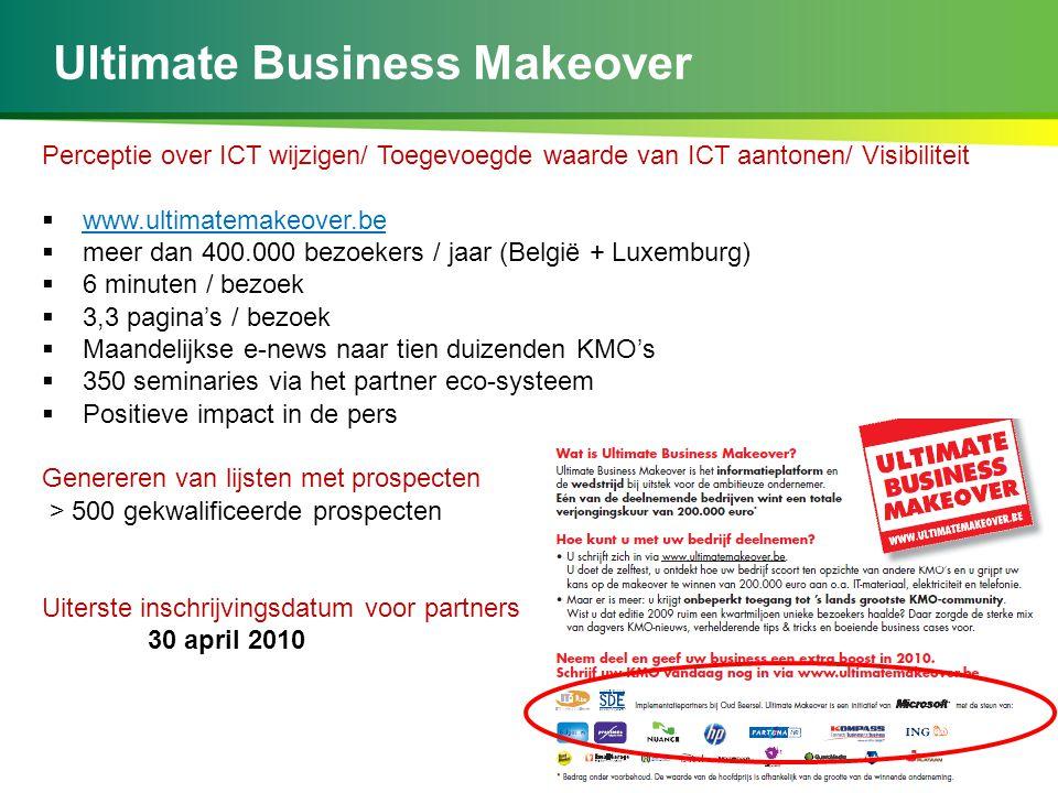 Ultimate Business Makeover Perceptie over ICT wijzigen/ Toegevoegde waarde van ICT aantonen/ Visibiliteit  www.ultimatemakeover.be  meer dan 400.000 bezoekers / jaar (België + Luxemburg)  6 minuten / bezoek  3,3 pagina's / bezoek  Maandelijkse e-news naar tien duizenden KMO's  350 seminaries via het partner eco-systeem  Positieve impact in de pers Genereren van lijsten met prospecten > 500 gekwalificeerde prospecten Uiterste inschrijvingsdatum voor partners 30 april 2010