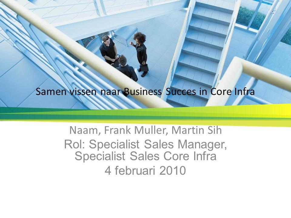 Samen vissen naar Business Succes in Core Infra Naam, Frank Muller, Martin Sih Rol: Specialist Sales Manager, Specialist Sales Core Infra 4 februari 2010