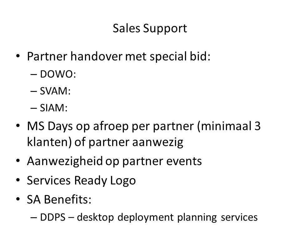 Sales Support Partner handover met special bid: – DOWO: – SVAM: – SIAM: MS Days op afroep per partner (minimaal 3 klanten) of partner aanwezig Aanwezi