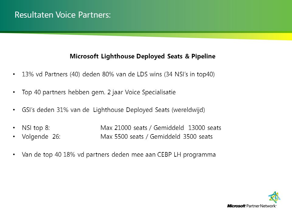 Resultaten Voice Partners: Microsoft Lighthouse Deployed Seats & Pipeline 13% vd Partners (40) deden 80% van de LDS wins (34 NSI's in top40) Top 40 partners hebben gem.
