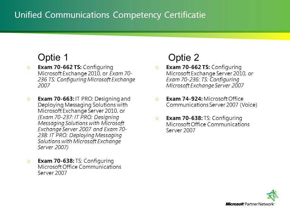 MPN competentie: Unified Communications Solutions