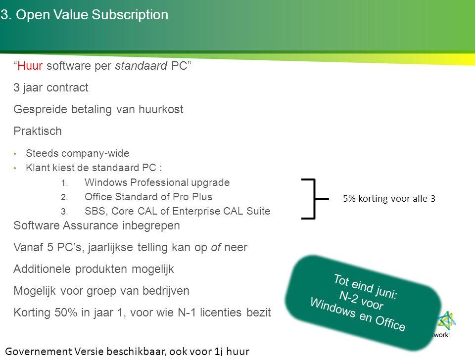 """3. Open Value Subscription """"Huur software per standaard PC"""" 3 jaar contract Gespreide betaling van huurkost Praktisch Steeds company-wide Klant kiest"""