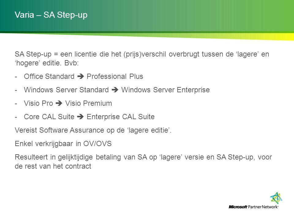 Varia – SA Step-up SA Step-up = een licentie die het (prijs)verschil overbrugt tussen de 'lagere' en 'hogere' editie. Bvb: -Office Standard  Professi