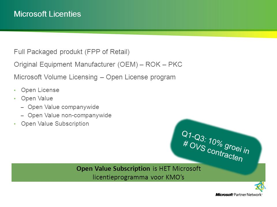 Microsoft Licenties Full Packaged produkt (FPP of Retail) Original Equipment Manufacturer (OEM) – ROK – PKC Microsoft Volume Licensing – Open License