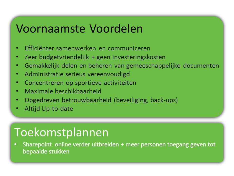 Voornaamste Voordelen Efficiënter samenwerken en communiceren Zeer budgetvriendelijk + geen investeringskosten Gemakkelijk delen en beheren van gemees