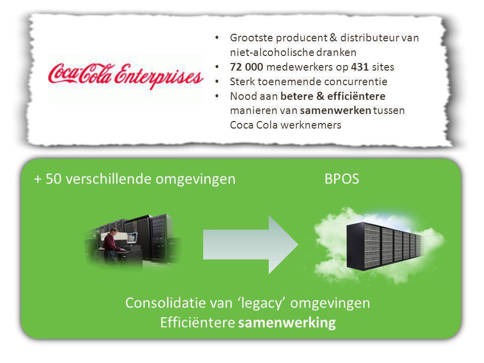 + 50 verschillende omgevingenBPOS Consolidatie van 'legacy' omgevingen Efficiëntere samenwerking Grootste producent & distributeur van niet-alcoholisc