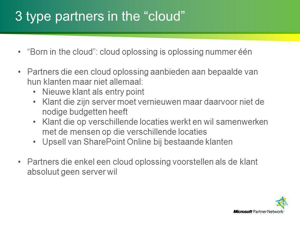 "3 type partners in the ""cloud"" ""Born in the cloud"": cloud oplossing is oplossing nummer één Partners die een cloud oplossing aanbieden aan bepaalde va"