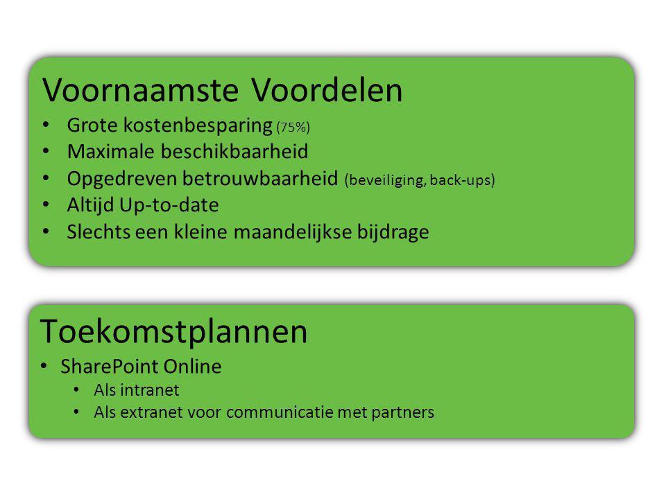 Voornaamste Voordelen Grote kostenbesparing (75%) Maximale beschikbaarheid Opgedreven betrouwbaarheid (beveiliging, back-ups) Altijd Up-to-date Slechts een kleine maandelijkse bijdrage Voornaamste Voordelen Grote kostenbesparing (75%) Maximale beschikbaarheid Opgedreven betrouwbaarheid (beveiliging, back-ups) Altijd Up-to-date Slechts een kleine maandelijkse bijdrage Toekomstplannen SharePoint Online Als intranet Als extranet voor communicatie met partners Toekomstplannen SharePoint Online Als intranet Als extranet voor communicatie met partners