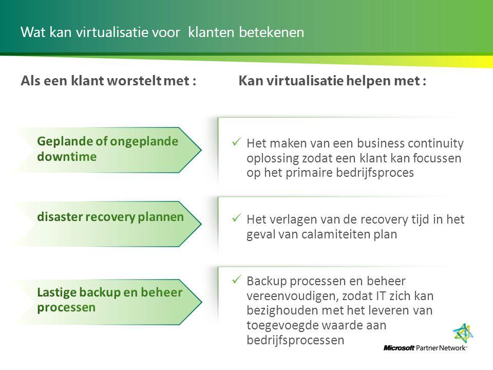Wat kan virtualisatie voor klanten betekenen Als een klant worstelt met :Kan virtualisatie helpen met : Het maken van een business continuity oplossin