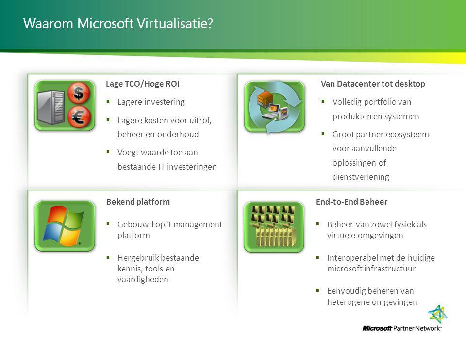 Waarom Microsoft Virtualisatie? Lage TCO/Hoge ROI  Lagere investering  Lagere kosten voor uitrol, beheer en onderhoud  Voegt waarde toe aan bestaan