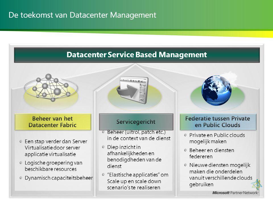 De toekomst van Datacenter Management Een stap verder dan Server Virtualisatie door server applicatie virtualisatie Logische groepering van beschikbar