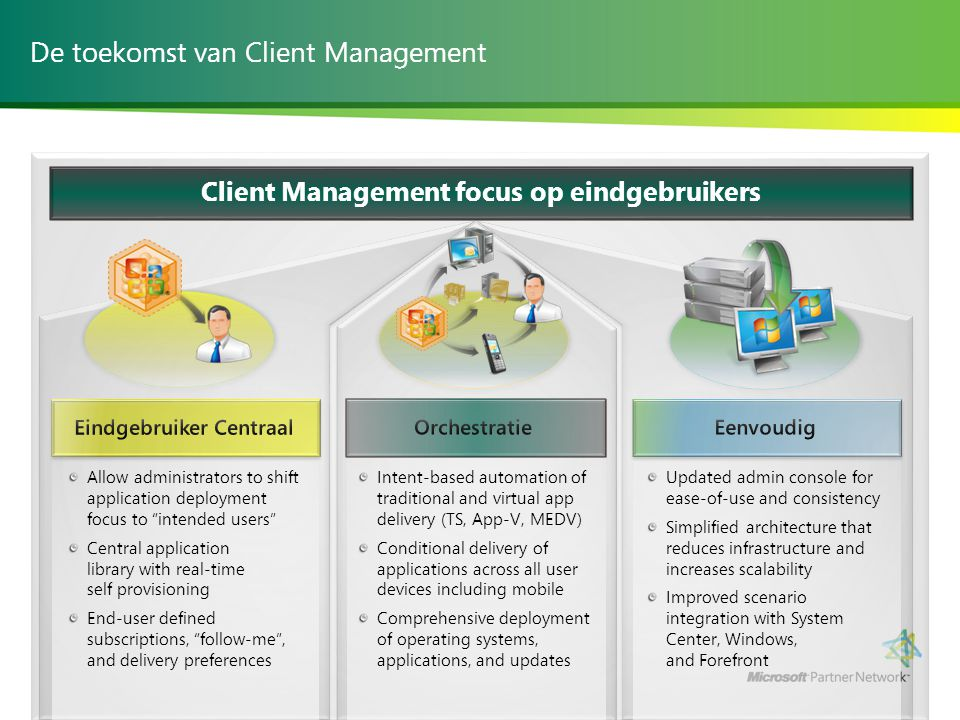 """De toekomst van Client Management Allow administrators to shift application deployment focus to """"intended users"""" Central application library with real"""