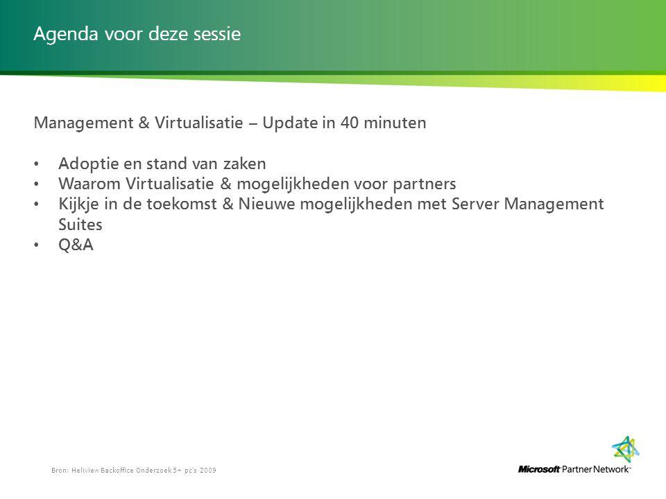 Agenda voor deze sessie Management & Virtualisatie – Update in 40 minuten Adoptie en stand van zaken Waarom Virtualisatie & mogelijkheden voor partner