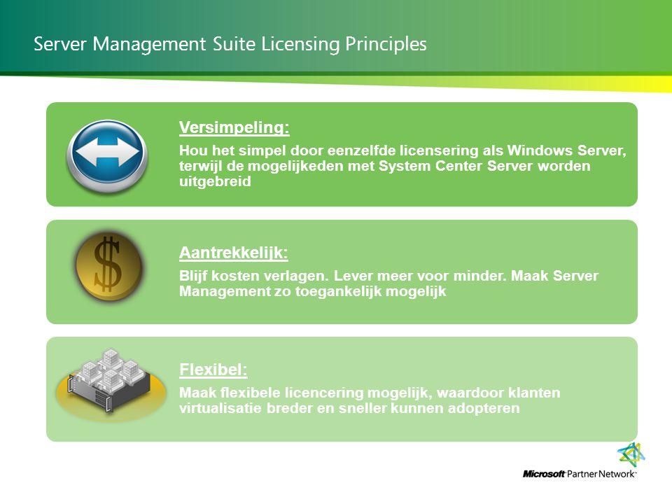 Server Management Suite Licensing Principles Versimpeling: Hou het simpel door eenzelfde licensering als Windows Server, terwijl de mogelijkeden met System Center Server worden uitgebreid Aantrekkelijk: Blijf kosten verlagen.