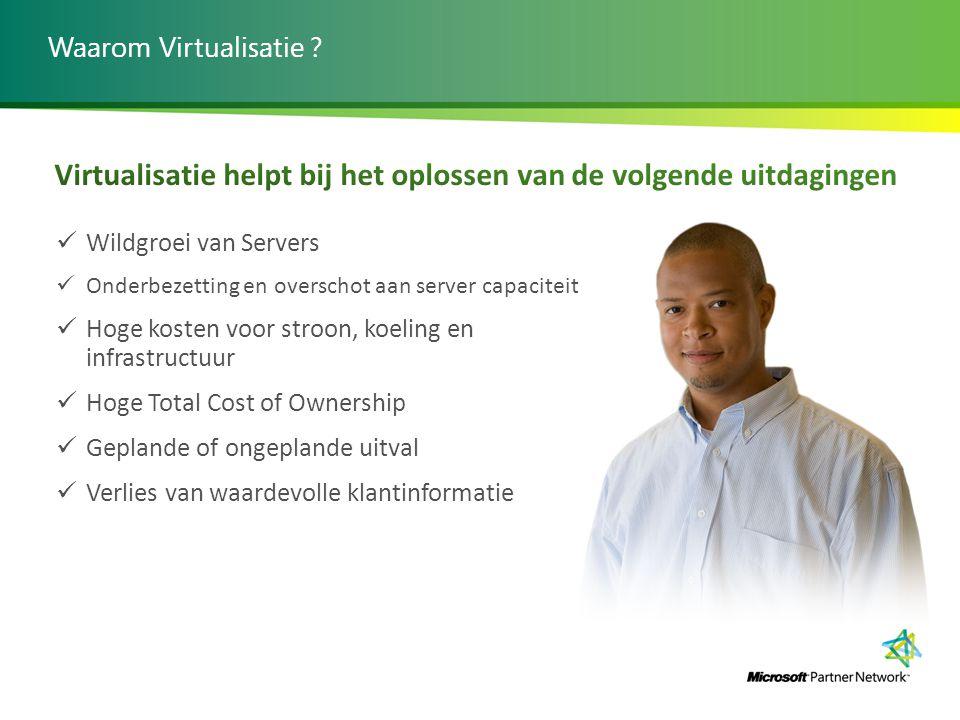 Waarom Virtualisatie ? Wildgroei van Servers Onderbezetting en overschot aan server capaciteit Hoge kosten voor stroon, koeling en infrastructuur Hoge