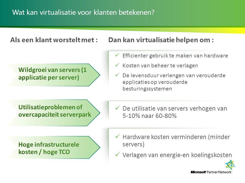 Wat kan virtualisatie voor klanten betekenen? Als een klant worstelt met :Dan kan virtualisatie helpen om : Efficienter gebruik te maken van hardware