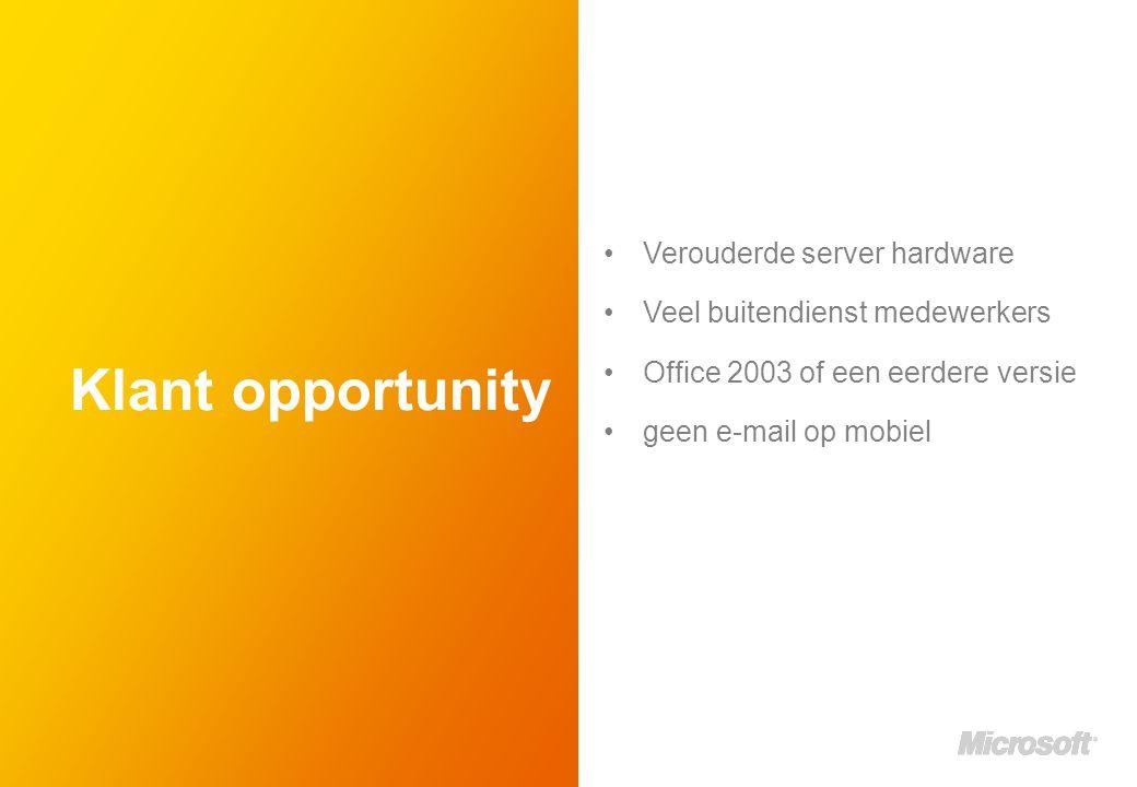 Klant opportunity Verouderde server hardware Veel buitendienst medewerkers Office 2003 of een eerdere versie geen e-mail op mobiel