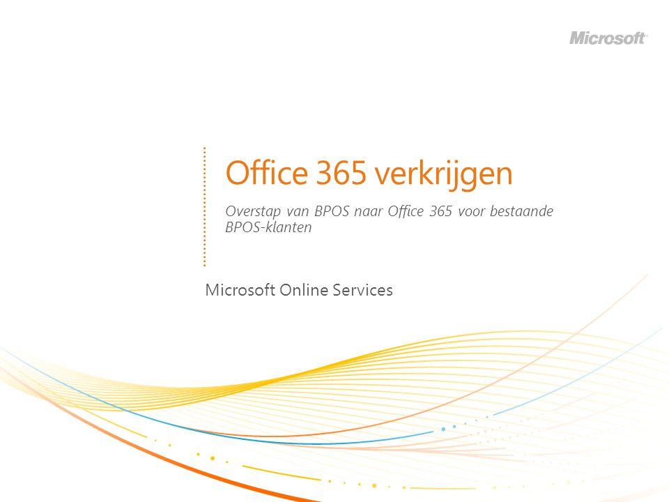 Office 365 verkrijgen Microsoft Online Services Overstap van BPOS naar Office 365 voor bestaande BPOS-klanten
