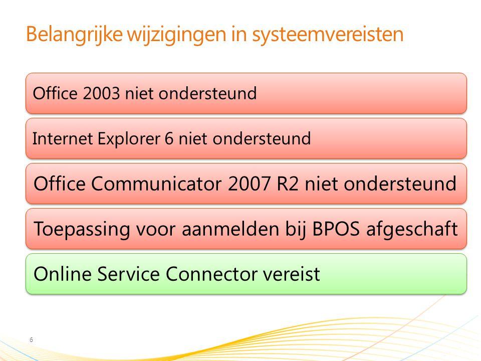 Belangrijke wijzigingen in systeemvereisten 6 Office 2003 niet ondersteundInternet Explorer 6 niet ondersteund Office Communicator 2007 R2 niet ondersteundToepassing voor aanmelden bij BPOS afgeschaftOnline Service Connector vereist