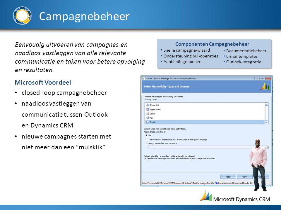 Campagnebeheer Eenvoudig uitvoeren van campagnes en naadloos vastleggen van alle relevante communicatie en taken voor betere opvolging en resultaten.