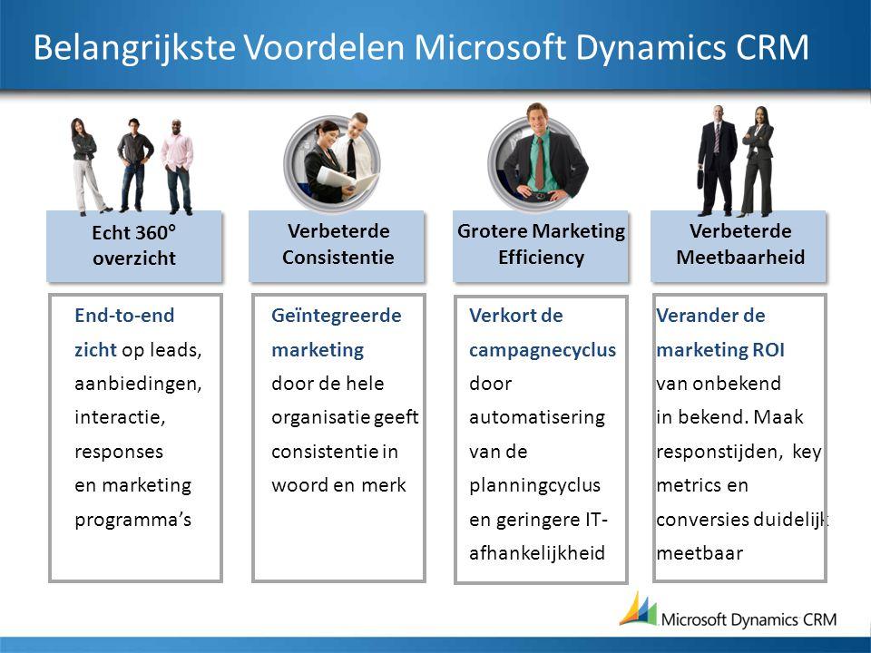 Belangrijkste Voordelen Microsoft Dynamics CRM End-to-end zicht op leads, aanbiedingen, interactie, responses en marketing programma's Echt 360° overz