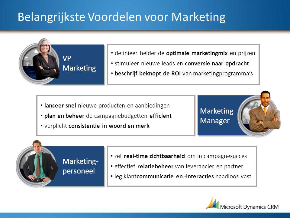 Belangrijkste Voordelen voor Marketing definieer helder de optimale marketingmix en prijzen stimuleer nieuwe leads en conversie naar opdracht beschrij