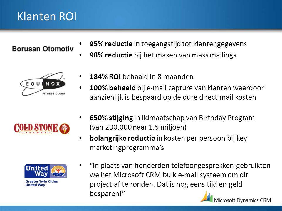 Klanten ROI 95% reductie in toegangstijd tot klantengegevens 98% reductie bij het maken van mass mailings 184% ROI behaald in 8 maanden 100% behaald b