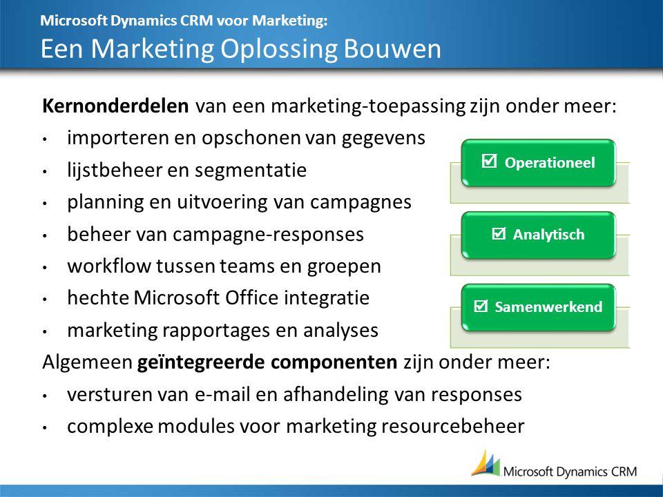 Microsoft Dynamics CRM voor Marketing: Een Marketing Oplossing Bouwen 27 Kernonderdelen van een marketing-toepassing zijn onder meer: importeren en op