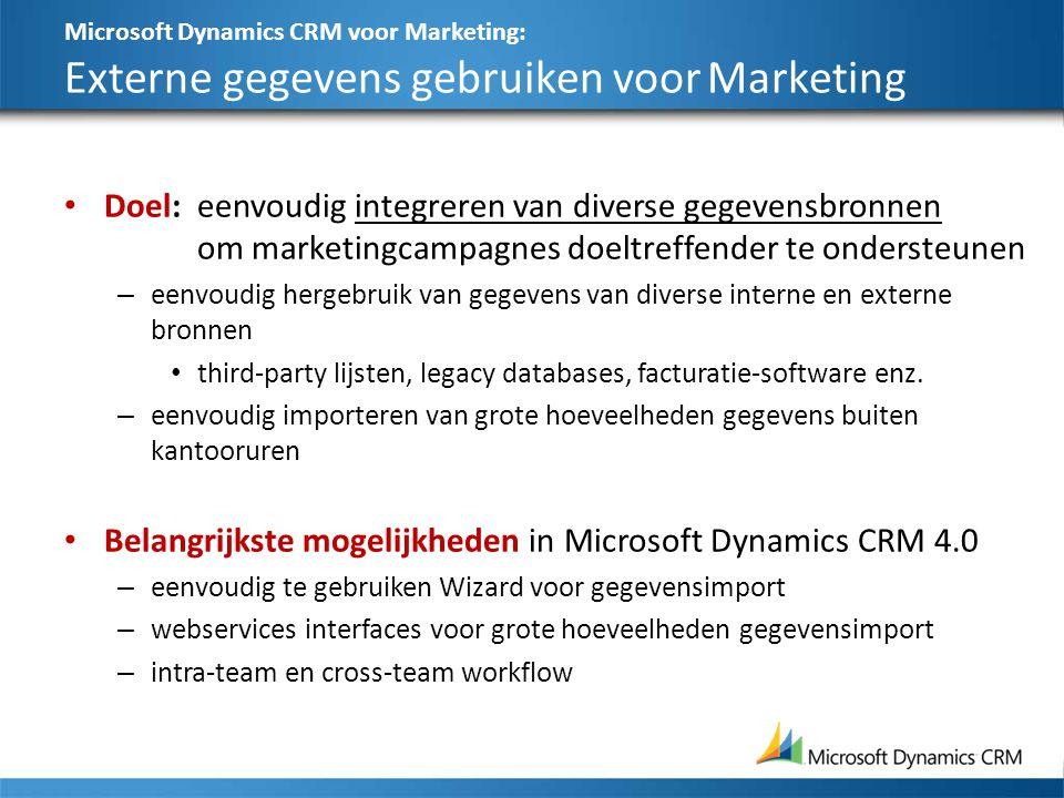 Microsoft Dynamics CRM voor Marketing: Externe gegevens gebruiken voor Marketing Doel:eenvoudig integreren van diverse gegevensbronnen om marketingcam