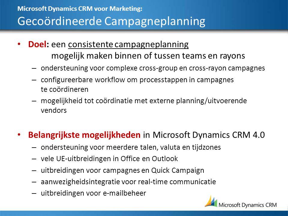 Microsoft Dynamics CRM voor Marketing: Gecoördineerde Campagneplanning Doel:een consistente campagneplanning mogelijk maken binnen of tussen teams en