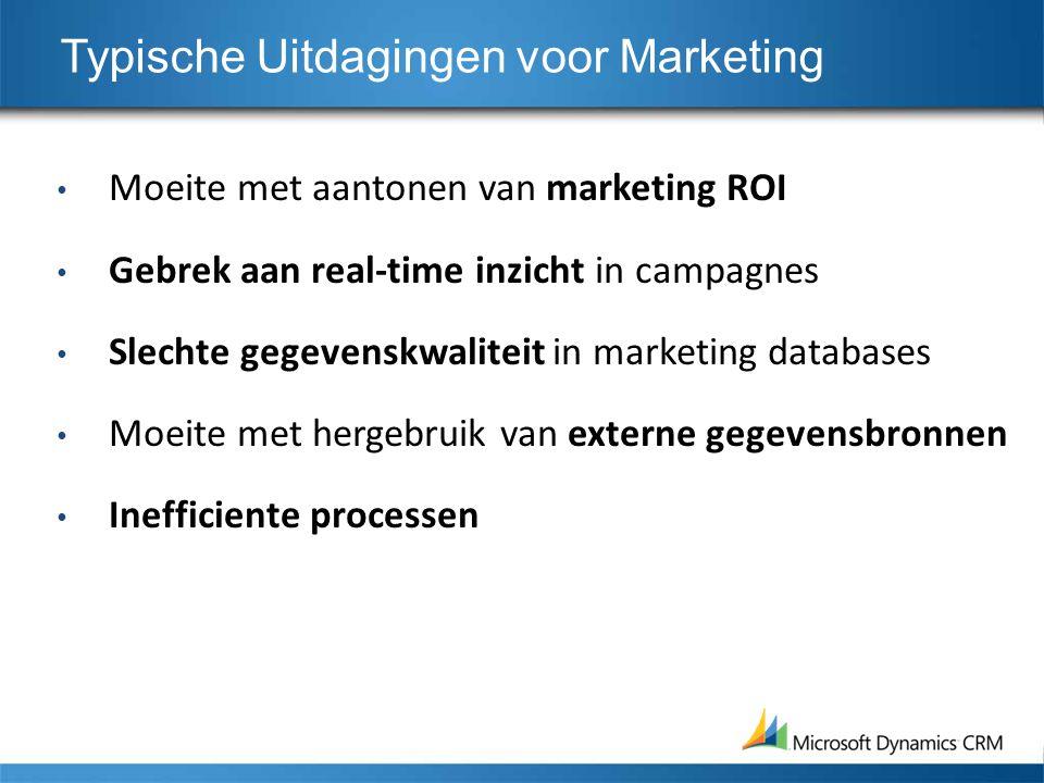 Typische Uitdagingen voor Marketing Moeite met aantonen van marketing ROI Gebrek aan real-time inzicht in campagnes Slechte gegevenskwaliteit in marke