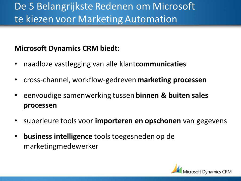 De 5 Belangrijkste Redenen om Microsoft te kiezen voor Marketing Automation Microsoft Dynamics CRM biedt: naadloze vastlegging van alle klantcommunica