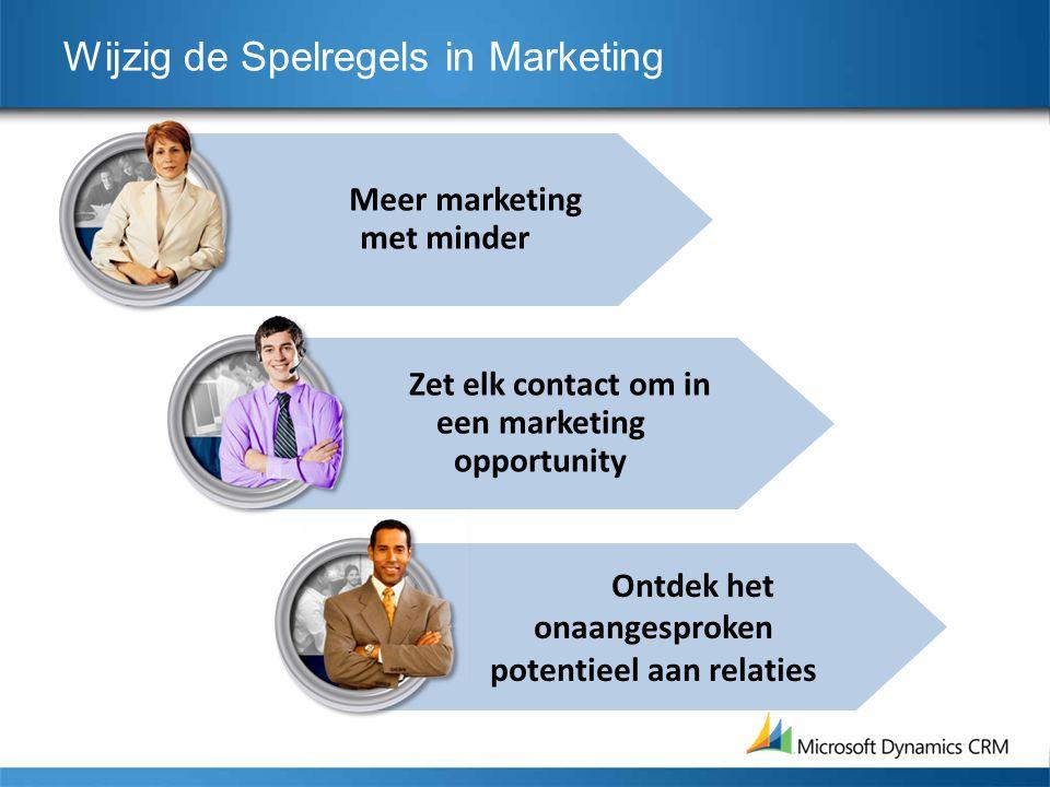 Meer marketing met minder Wijzig de Spelregels in Marketing Zet elk contact om in een marketing opportunity Ontdek het onaangesproken potentieel aan r