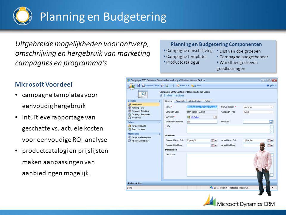 Uitgebreide mogelijkheden voor ontwerp, omschrijving en hergebruik van marketing campagnes en programma's Microsoft Voordeel campagne templates voor e