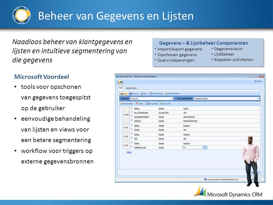 Beheer van Gegevens en Lijsten Naadloos beheer van klantgegevens en lijsten en intuïtieve segmentering van die gegevens Microsoft Voordeel tools voor