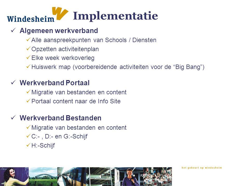 Implementatie Algemeen werkverband Alle aanspreekpunten van Schools / Diensten Opzetten activiteitenplan Elke week werkoverleg Huiswerk map (voorberei
