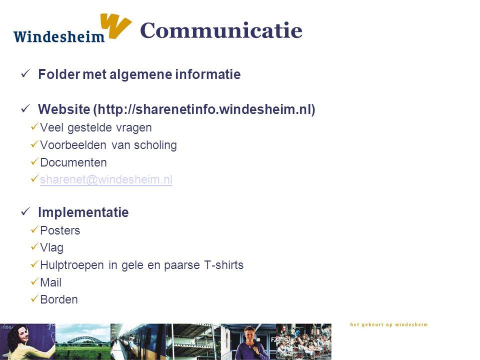 Communicatie Folder met algemene informatie Website (http://sharenetinfo.windesheim.nl) Veel gestelde vragen Voorbeelden van scholing Documenten sharenet@windesheim.nl Implementatie Posters Vlag Hulptroepen in gele en paarse T-shirts Mail Borden