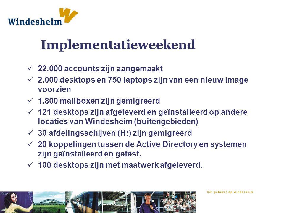 Implementatieweekend 22.000 accounts zijn aangemaakt 2.000 desktops en 750 laptops zijn van een nieuw image voorzien 1.800 mailboxen zijn gemigreerd 1