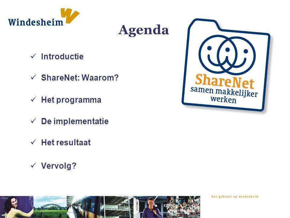 Agenda Introductie ShareNet: Waarom? Het programma De implementatie Het resultaat Vervolg?