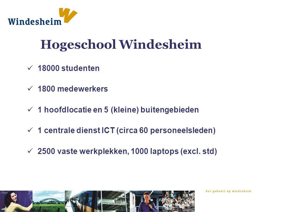 Hogeschool Windesheim 18000 studenten 1800 medewerkers 1 hoofdlocatie en 5 (kleine) buitengebieden 1 centrale dienst ICT (circa 60 personeelsleden) 2500 vaste werkplekken, 1000 laptops (excl.