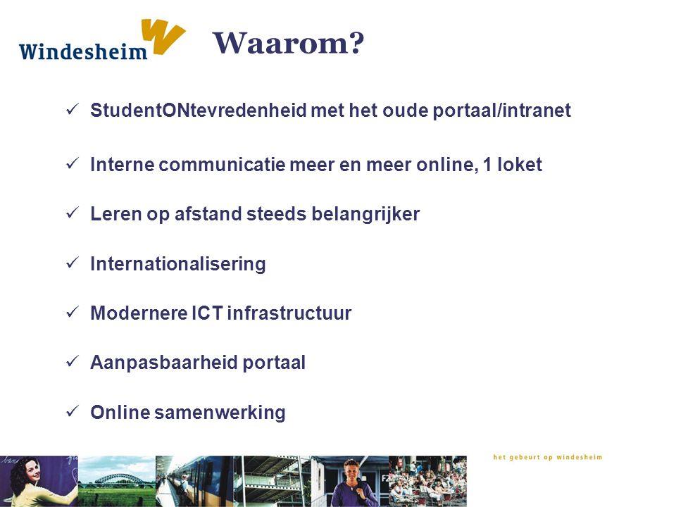 Waarom? StudentONtevredenheid met het oude portaal/intranet Interne communicatie meer en meer online, 1 loket Leren op afstand steeds belangrijker Int
