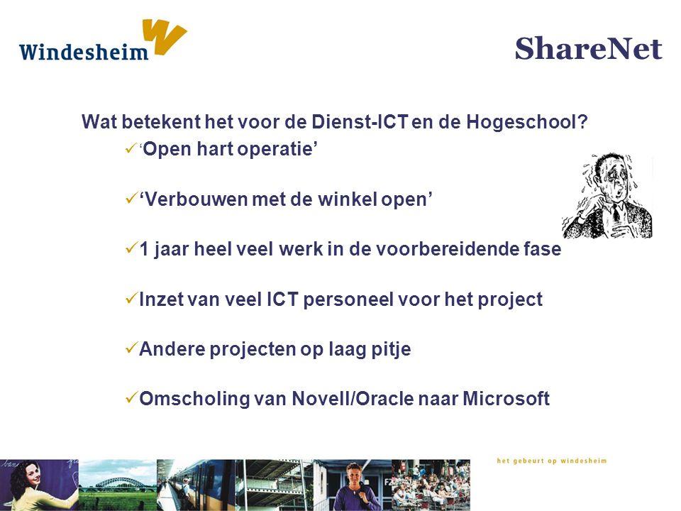 ShareNet Wat betekent het voor de Dienst-ICT en de Hogeschool? ' Open hart operatie' 'Verbouwen met de winkel open' 1 jaar heel veel werk in de voorbe