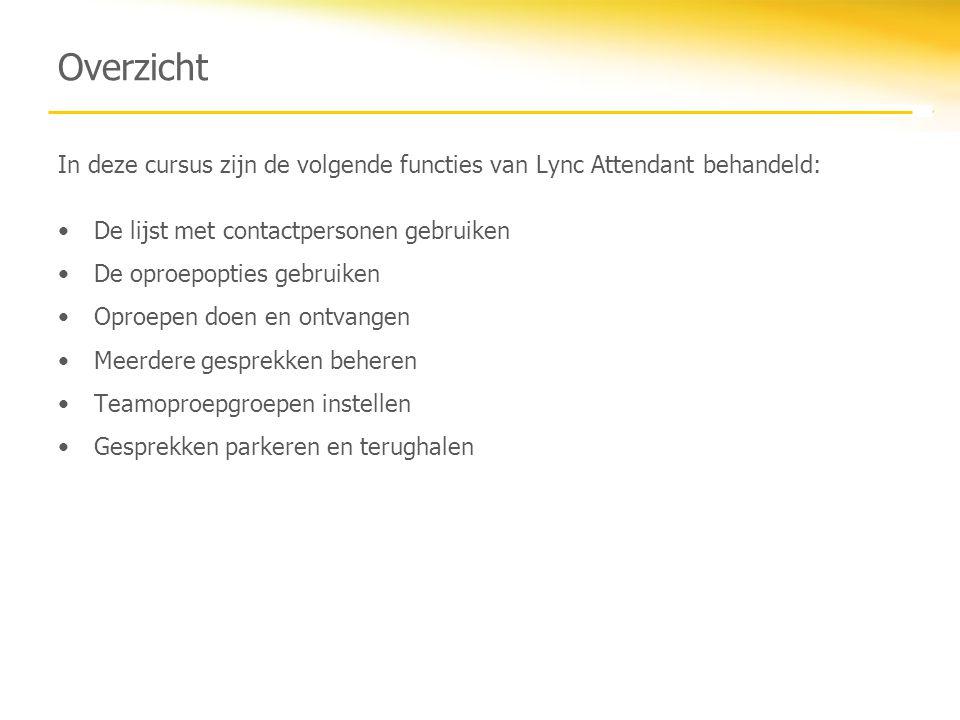 Overzicht In deze cursus zijn de volgende functies van Lync Attendant behandeld: De lijst met contactpersonen gebruiken De oproepopties gebruiken Opro
