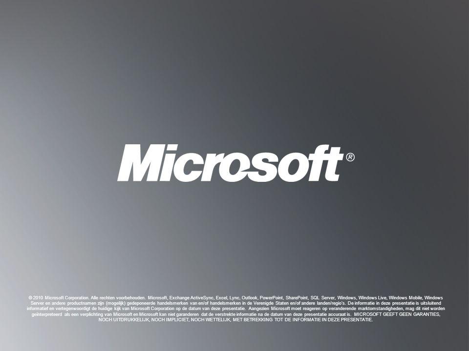 T ERUG NAAR DOELSTELLINGEN T ERUG NAAR DOELSTELLINGEN © 2010 Microsoft Corporation. Alle rechten voorbehouden. Microsoft, Exchange ActiveSync, Excel,