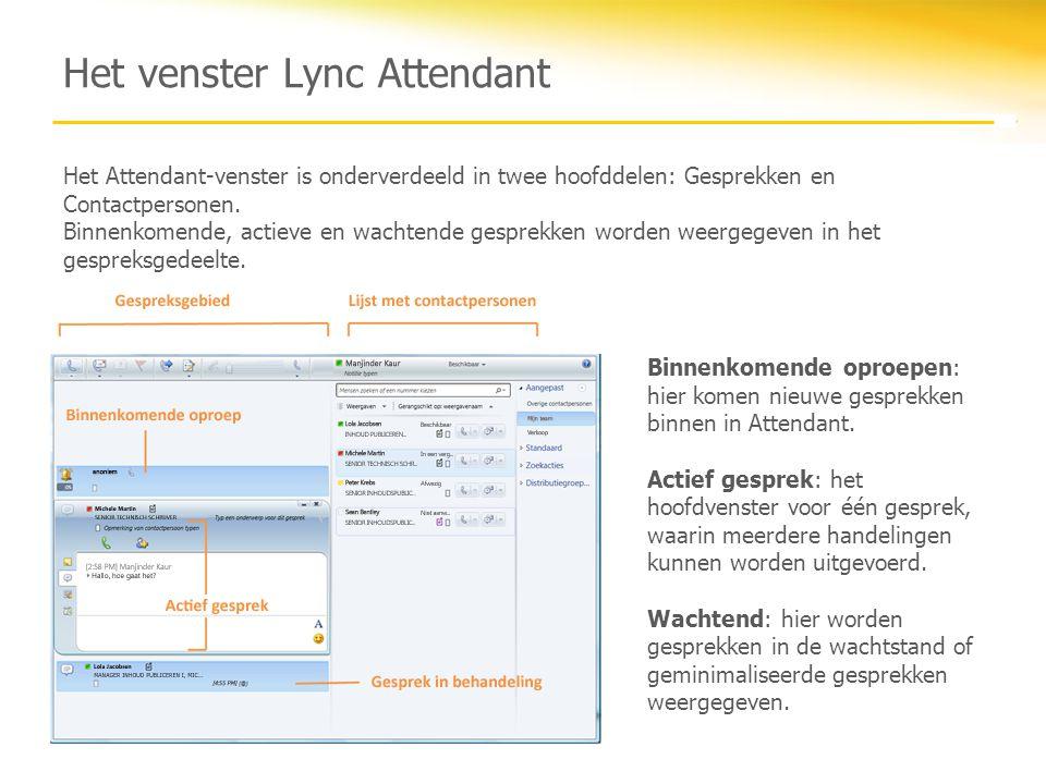 Het venster Lync Attendant Het Attendant-venster is onderverdeeld in twee hoofddelen: Gesprekken en Contactpersonen. Binnenkomende, actieve en wachten